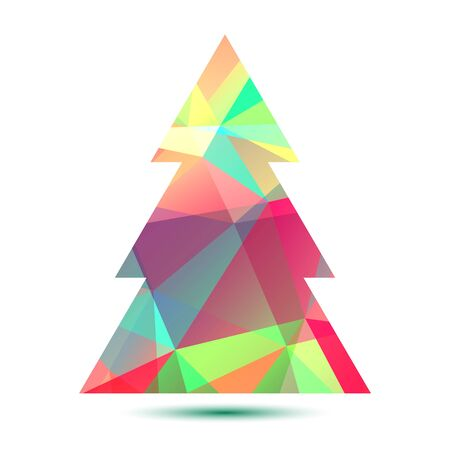 Polygonal bright abstract Christmas tree on a white background.