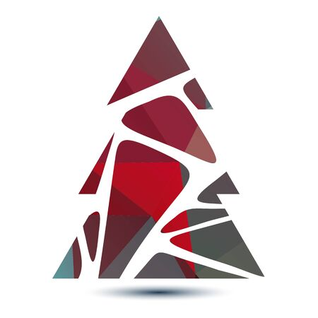 low poly: Polygonal bright striped abstract Christmas tree isolated on a white background.