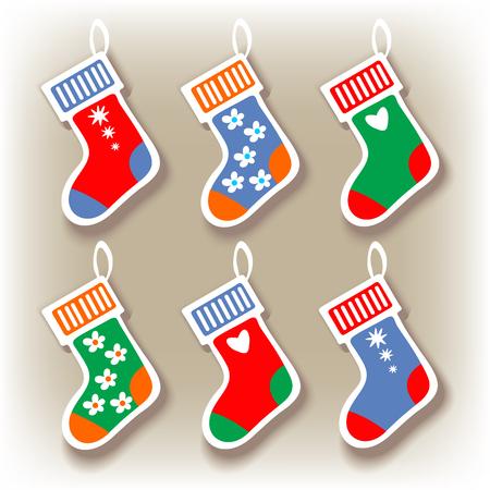 Christmas stocking set on a gray background.