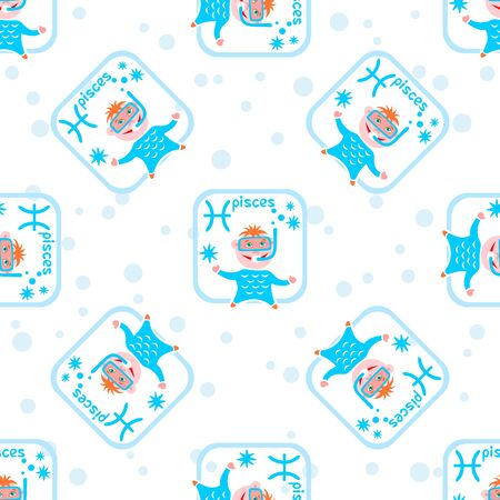 pisces star: Seamless pattern with cartoon horoscope symbol pisces. Zodiac star sign.