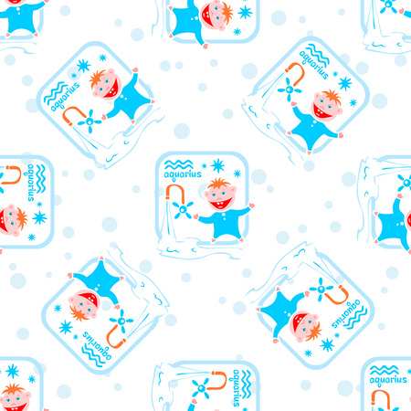 aquarius star: Seamless pattern with cartoon horoscope symbol aquarius. Zodiac star sign.