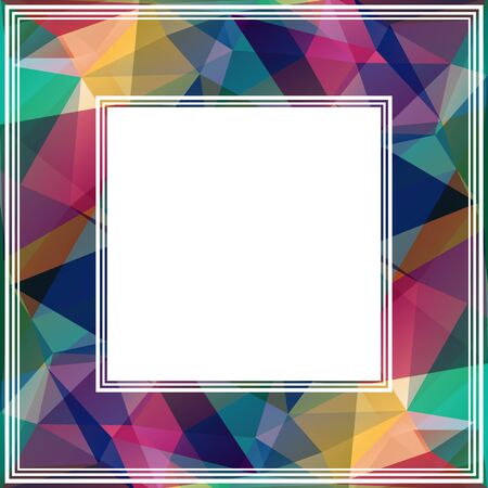 blue and green: Polygonal abstract border with blue and green triangles.