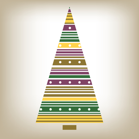 abstract tree: Stylized abstract striped Christmas tree on a white background.