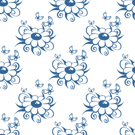 chamomiles: Cartoon chamomiles silhouettes on a white background. Seamless pattern.