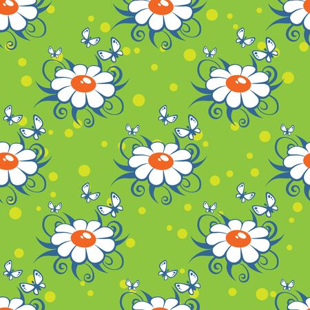 chamomiles: Cartoon chamomiles on a green background. Seamless pattern.