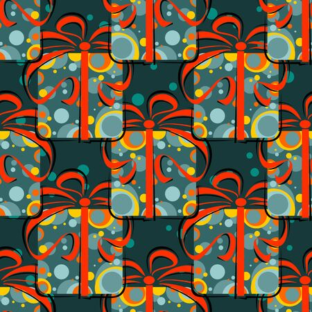 gift pattern: Christmas gift boxes on a dark background. Seamless pattern.