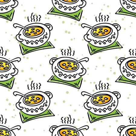 soup pot: Stylized saucepan with hot soup. Seamless pattern. Illustration