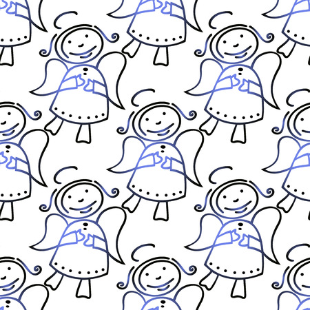christmas angels: Stylized Christmas angels on a white background. Seamless pattern.