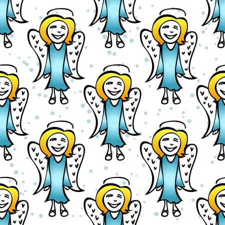 christmas angels: Stylized colored Christmas angels on a white background.