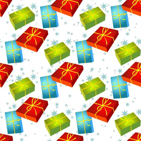 gift pattern: Christmas gift boxes on a white background. Seamless pattern.