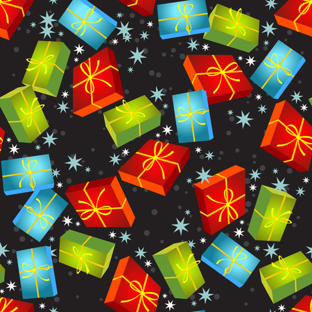 gift pattern: Christmas gift boxes on a black background. Seamless pattern.