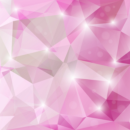 Polygonal monochrome abstract background with pink and purple triangles.