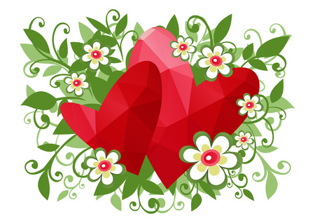 curve creative: Two polygonal hearts with cartoon flowers on a white background.