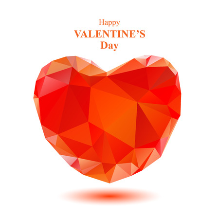scarlet: Scarlet polygonal heart with lettering isolated on a white background.