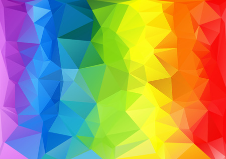Polygonal horizontal abstract multicolored bright rainbow background.