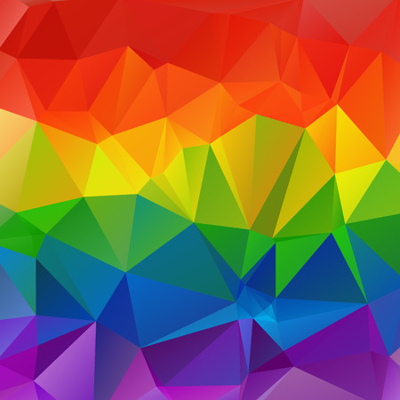 gay pride rainbow: Polygonal abstract multicolored bright square rainbow background. Illustration