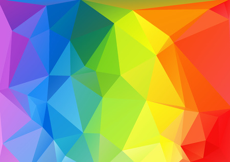 rectangular: Polygonal abstract multicolored bright horizontal rainbow background.