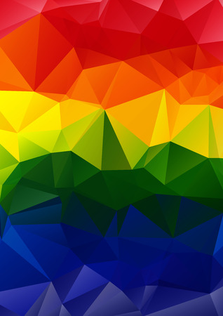 gay pride rainbow: Polygonal abstract multicolored bright vertical rainbow background. Illustration