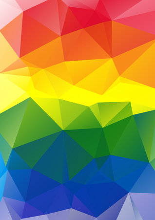 gay pride rainbow: Polygonal multicolored abstract bright vertical rainbow background.
