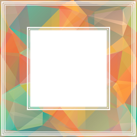 orange abstract: Polygonal abstract border with orange and blue triangles. Illustration