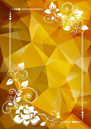 low prizes: Abstract floral border on a yellow polygonal background. Illustration