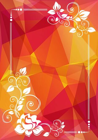 low prizes: Abstract floral border on a bright polygonal background.