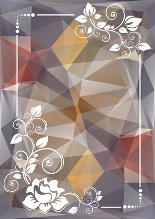 curve creative: Abstract floral border on a gray polygonal background.