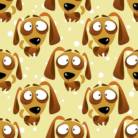 cute dog: Cartoon dogs seamless pattern on a white background.