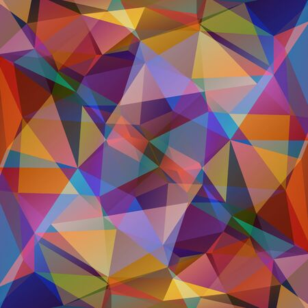 Polygonal abstract background with multicolored bright triangles.