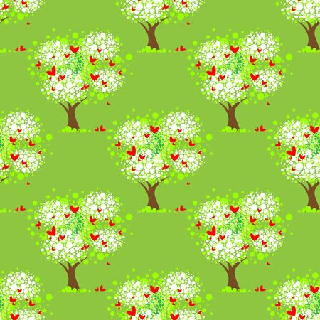 stylised: Stylized tree on a green background. Seamless pattern.