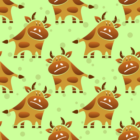 funny ox: Cartoon bull on a green background. Seamless pattern.