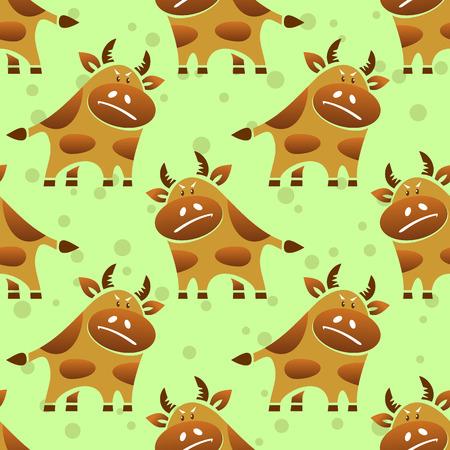 Cartoon bull on a green background. Seamless pattern.