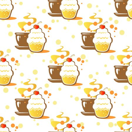 cake background: Stylized cup cake on a white background. Seamless pattern, Illustration