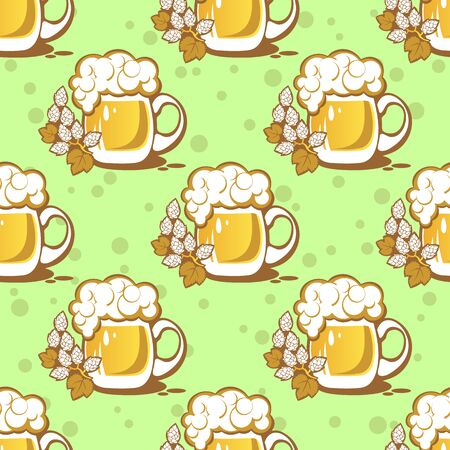 suds: Stylized beer and hop on a green background. Seamless pattern.