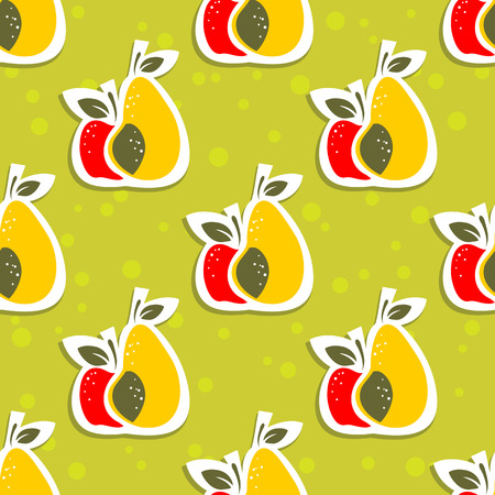 fresh: Apple and pear on a green background. Seamless pattern.