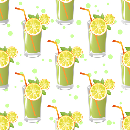 lemon slices: Stylized glass of juice with lemon slices on a white background. Seamless pattern.