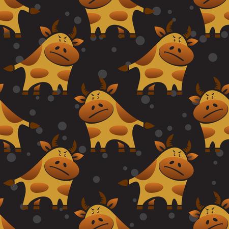 funny ox: Cartoon bull on a black background. Seamless pattern.
