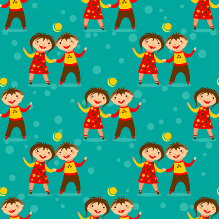 red happiness: Stylized girl and boy on a blue-green background. Seamless pattern. Illustration