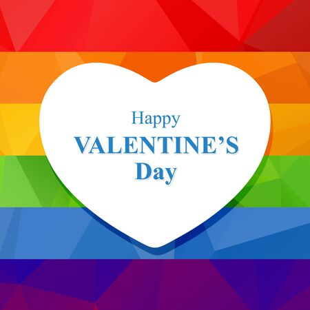 heart background: Polygonal rainbow background with white heart silhouette.