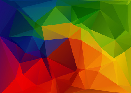 Polygonal abstract background with bright rainbow triangles. Illustration