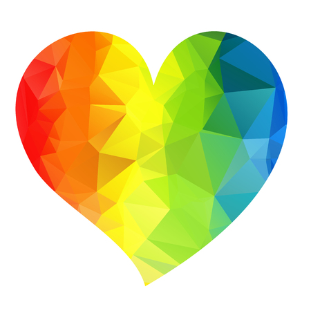 gay couple: Rainbow bright heart isolated on a white background.