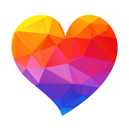 Rainbow polygonal heart isolated on a white background.
