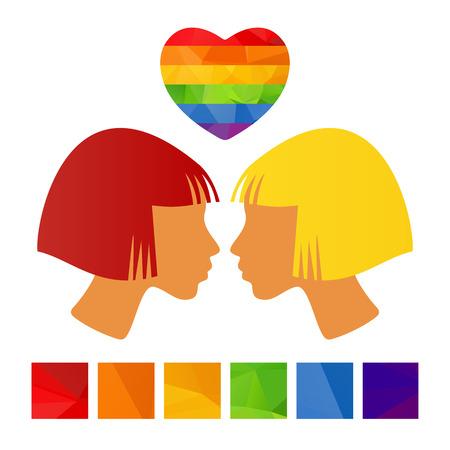 tolerancia: Dos muchachas con el corazón aislado en un fondo blanco.