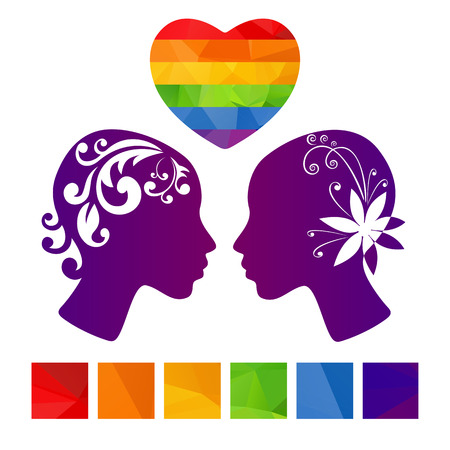 homosexual couple: Two girl heads and polygonal heart on a white background.