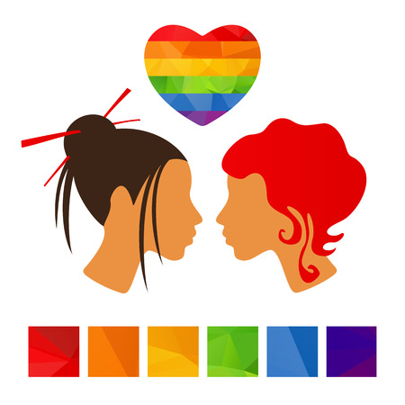 gay couple: Girls couple with polygonal rainbow heart on a white background.