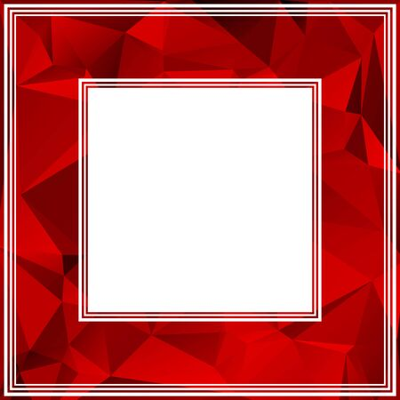 scarlet: Polygonal abstract border with bright red and scarlet triangles. Illustration