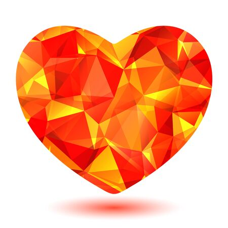 red gold: Red bright crystal polygonal heart isolated on a white background.