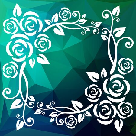 bluegreen: Abstract floral border on a blue-green polygonal background.
