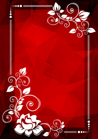 red and white: Abstract floral border on a red polygonal background.