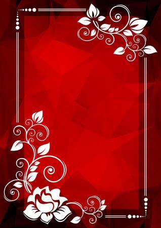 rosas rojas: Frontera floral abstracta en un fondo poligonal rojo.
